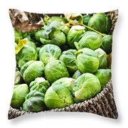 Basket Of Brussels Sprouts Throw Pillow