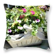 Basket Of Ivy And Flowers In The Sunshine Throw Pillow