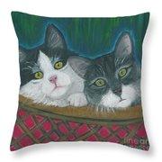 Basket Of Kitties Throw Pillow