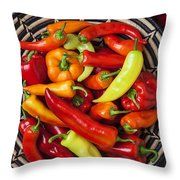 Basketful Of Peppers Throw Pillow
