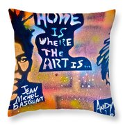 Basquait And Worhol Throw Pillow