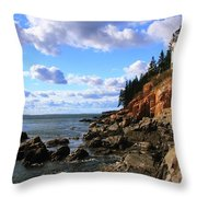 Bass Harbor Head Seascape Throw Pillow