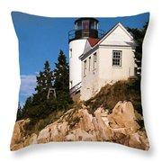 Bass Harbor Light Acadia National Park Maine Throw Pillow