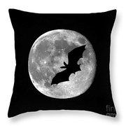 Bat Moon Throw Pillow