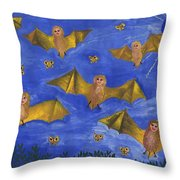 Bat People At The Pipistrelle Party Throw Pillow