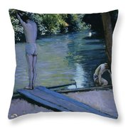 Bather About To Plunge Into The River Yerres Throw Pillow