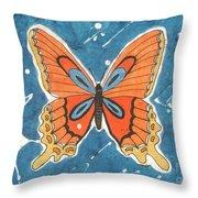 Batik Butterfly Throw Pillow