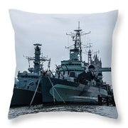 Battleship At Tower Bridge Throw Pillow