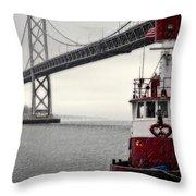 Bay Bridge And Fireboat In The Rain Throw Pillow