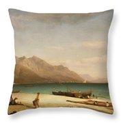 Bay Of Salerno Throw Pillow