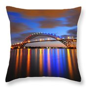 Bayonne Bridge Throw Pillow by Paul Ward