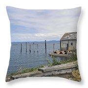 Bayside Boat Barn Throw Pillow