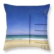 Beach And Blue Sky On Postcard  Throw Pillow by Setsiri Silapasuwanchai