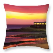 Beach At Sunset Throw Pillow