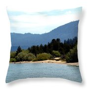 Beach Biking Lake Tahoe Throw Pillow
