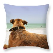 Beach Blanket Tugboat Throw Pillow