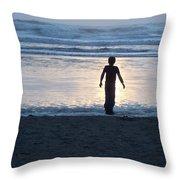 Beach Boy Silhouette Throw Pillow