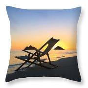 Beach Chair At Sunrise Throw Pillow