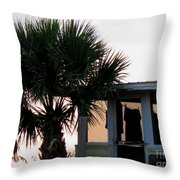 Beach Cottage Clothesline Throw Pillow