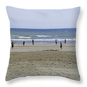 Beach Cricket - Bridlington Throw Pillow