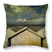 Beach Huts Under A Stormy Sky. Vintage-look. Normandy. France Throw Pillow