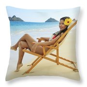 Beach Lounger Throw Pillow by Tomas del Amo