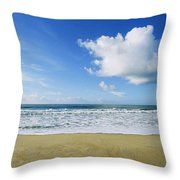 Beach, Ocean, Sky, And Clouds Throw Pillow