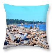 Beach Of Logs Throw Pillow