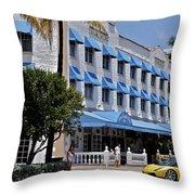 Beach Paradise Hotel Throw Pillow