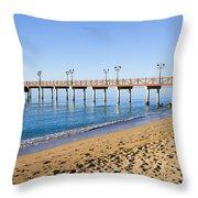 Beach Pier In Marbella Throw Pillow