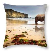 Beach Rhino Throw Pillow