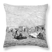 Beach Scene, 19th Century Throw Pillow