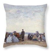 Beach Scene Near Trouville Throw Pillow by Eugene Louis Boudin