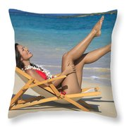 Beach Stretching II Throw Pillow
