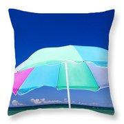 Beach Umbrella At The Shore Throw Pillow