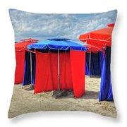 Beach Umbrellas Nice France Throw Pillow