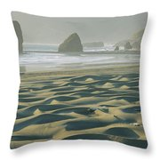 Beach With Dunes And Seastack Rocks Throw Pillow