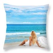 Beach Woman Throw Pillow