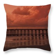 Beachcombing At Oceanside Pier Throw Pillow