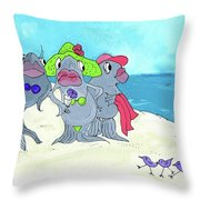 Beached Ladies Throw Pillow