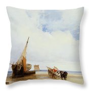Beached Vessels And A Wagon Near Trouville Throw Pillow by Richard Parkes Bonington