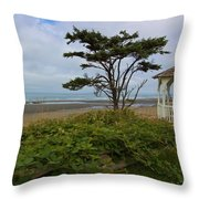 Beachside Gazebo Throw Pillow