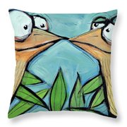 Beak To Beak On A Branch Throw Pillow