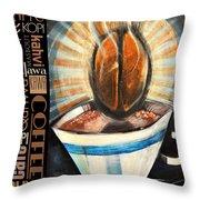 Bean Coffee Languages Poster Throw Pillow