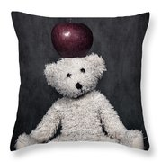 Bear And Apple Throw Pillow