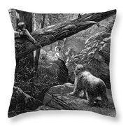 Bear Hunt, 1876 Throw Pillow by Granger