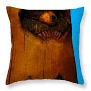 Bear In Log Throw Pillow