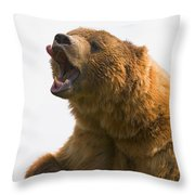 Bear With Tongue Out Of Mouth Throw Pillow by Carson Ganci