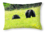 Bears In A Peaceful Meadow1 Throw Pillow