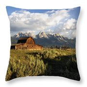 Beautiful Barn Grand Teton  Throw Pillow